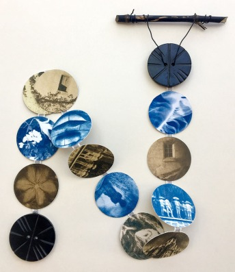 Hanging Cyanotype Button Book by Marjie Kamine