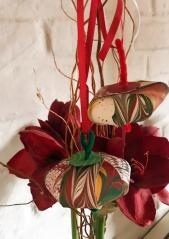 By Barb Macks. A haiku: Paste paper designs BAG ornament so festive FELIZ NAVIDAD!
